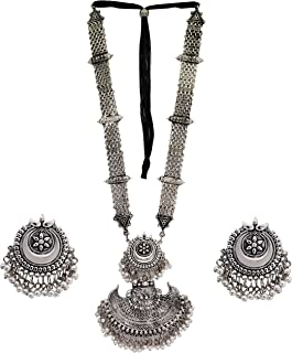 Total Fashion Afghani Oxidised Silver Jewellery Stylish Antique Long Necklace Set for Women & Girls