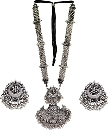 Afghani Oxidised Silver Jewellery Stylish Antique Long Necklace Set For Women Girls