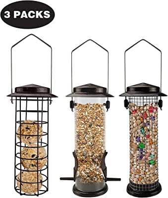 MIXXIDEA Set of 3 Tube Bird Feeders Metal Hanging Feeders Wild Bird Seed Feeder Peanut Nut Bird Feeder Sunflower Seed with Steel Hanger Weatherproof and Water Resistant Great for Attracting Birds