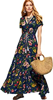 9d999cdc3cb Milumia Women s Button Up Split Floral Print Flowy Party Maxi Dress X-Large  Blue