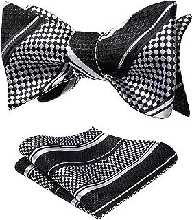 Men's Plaid Check Bowtie Woven Self Tie Bow tie and Pocket Square Set