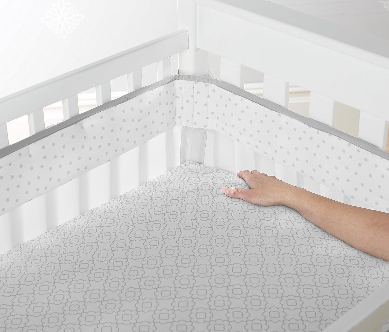 Just Born Fresh Air Crib Liner, Ruffled Medallions in Grey