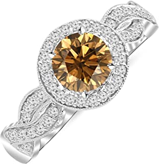 1.3 Carat 14K White Gold Twisting Eternity Milgrain Diamond Ring w/ 1 Carat Blue Diamond