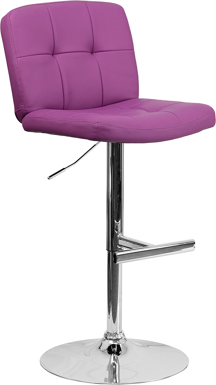 Flash Furniture DS-829-PUR-GG Contemporary Tufted Vinyl Adjustable Height Bar Stool with Chrome Base, Purple
