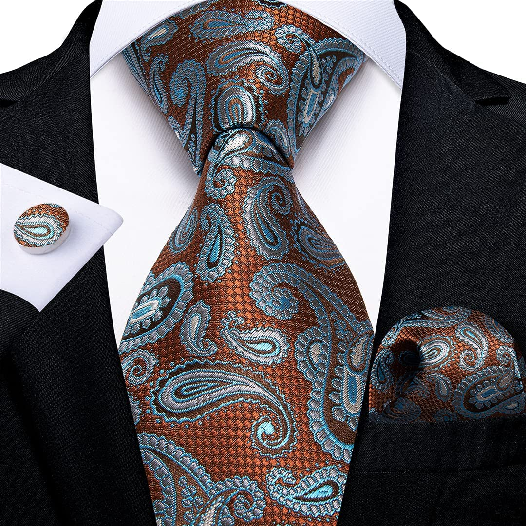 Blue Gold Paisley Ties For Men 8cm Silk Neck Tie Handkerchief Cufflinks Set Business Wedding