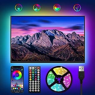 WOANWAY Led-achtergrondverlichting voor tv, 3 m, USB-ledstrip, bluetooth app-bediening, sync muziek met microfoon, tv, kle...