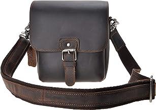 ZLYC Handarbeit Kleine DSLR-Kamera Echtleder Kameratasche Messenger Bag Büchertasche