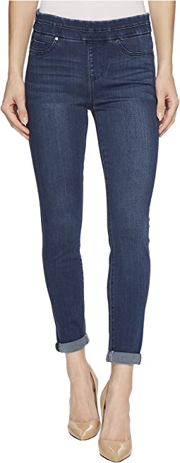 Liverpool Zoe Rolled Cuff Crop Pull-On in Silky Soft Denim in Elysian Dark