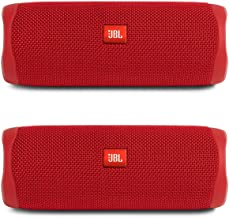 JBL Flip 5 Waterproof Portable Wireless Bluetooth Speaker Bundle - (Pair) Red