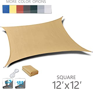 Love Story 12' x 12' Square Sand UV Block Sun Shade Sail Perfect for Outdoor Patio Garden
