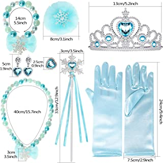 Joinfun Prinzessin Zubehör Mädchen Prinzessin Krone Mädchen Verkleidung ELSA Prinzessin Set Halloween Kostüm Party Handschuhe Halskette Ohrringe Zauberstab (Schneeflocke)