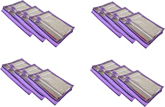 KANUSHI Set of 12 Pc Flower Design Transparent Non Woven Saree Cover/Saree Cover Bags with Stainless Steel Zip Lock Combo (Purple)