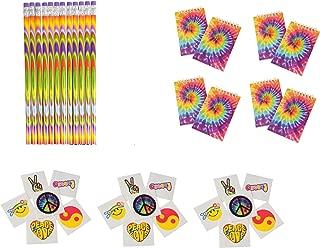 168 Piece Retro, Tie Dye, Peace, Love, 60's, Hippie Party Favors ~ 12 Tie-Dye Pencils, 12 Tie-Dye Notebooks & 144 Retro Tattoos ~ Teacher Student Classroom Giveaways