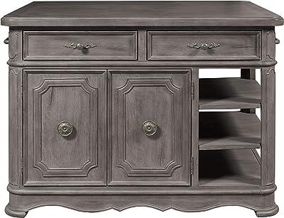 Navy Crosley Furniture Madison Kitchen Island with Butcher Block Top