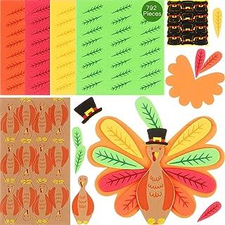 792 Pieces Thanksgiving Turkey Craft Set DIY Turkey Thanksgiving Foam decorations for Thanksgiving Party Activities Supplies, Make Up To 72 Turkeys