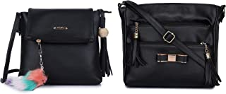 GLOSSY Women's PU Sling Bag with Keychain with 5 Zip Compartments Combo (Black)