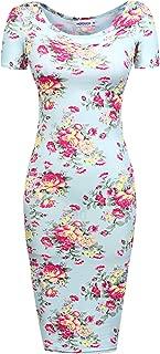 Womens Bodycon Dress Floral Mini Pencil Slim Dress Long Sleeve Maternity Mom Slim Fit Dresses