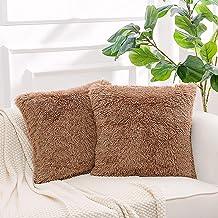 "NordECO HOME Luxury Soft Faux Fur Fleece Cushion Cover Pillowcase Decorative Throw Pillows Covers, No Pillow Insert, 18"" x..."