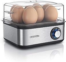 Arendo Eierkoker van roestvrij staal voor 1 tot 8 eieren, 500 W, controlelampje, draaiknop voor drie hardheidsgraden, vaat...