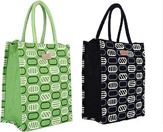 Ecotara Marvel Eco-Friendly Premium Jute Lunch Bag with Bottle holder Combo Pack - Black & Green