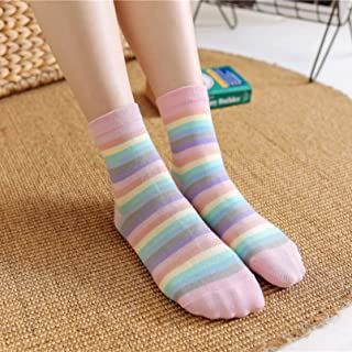 MIWNXM, 10 Pares Rainbow Socks Korean Color Striped Female Cotton Socks Cute Girl Student Socks