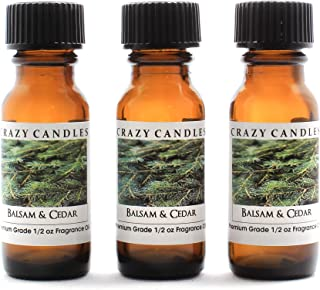 Crazy Candles Balsam & Cedar (Made in USA) 3 Bottles 1/2 Fl Oz Each (15ml) Premium Grade Scented Fragrance Oil