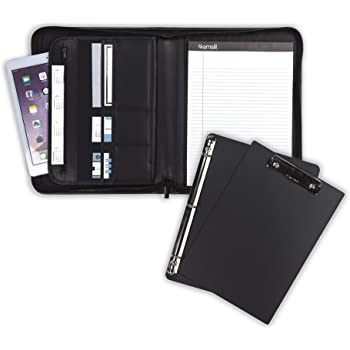 """Samsill 70829 Professional Padfolio Bundle, Includes Removable Clipboard.5"""" Round Ring Binder with Secure Zippered Closure, 10.1 Inch Tablet Sleeve, Black"""