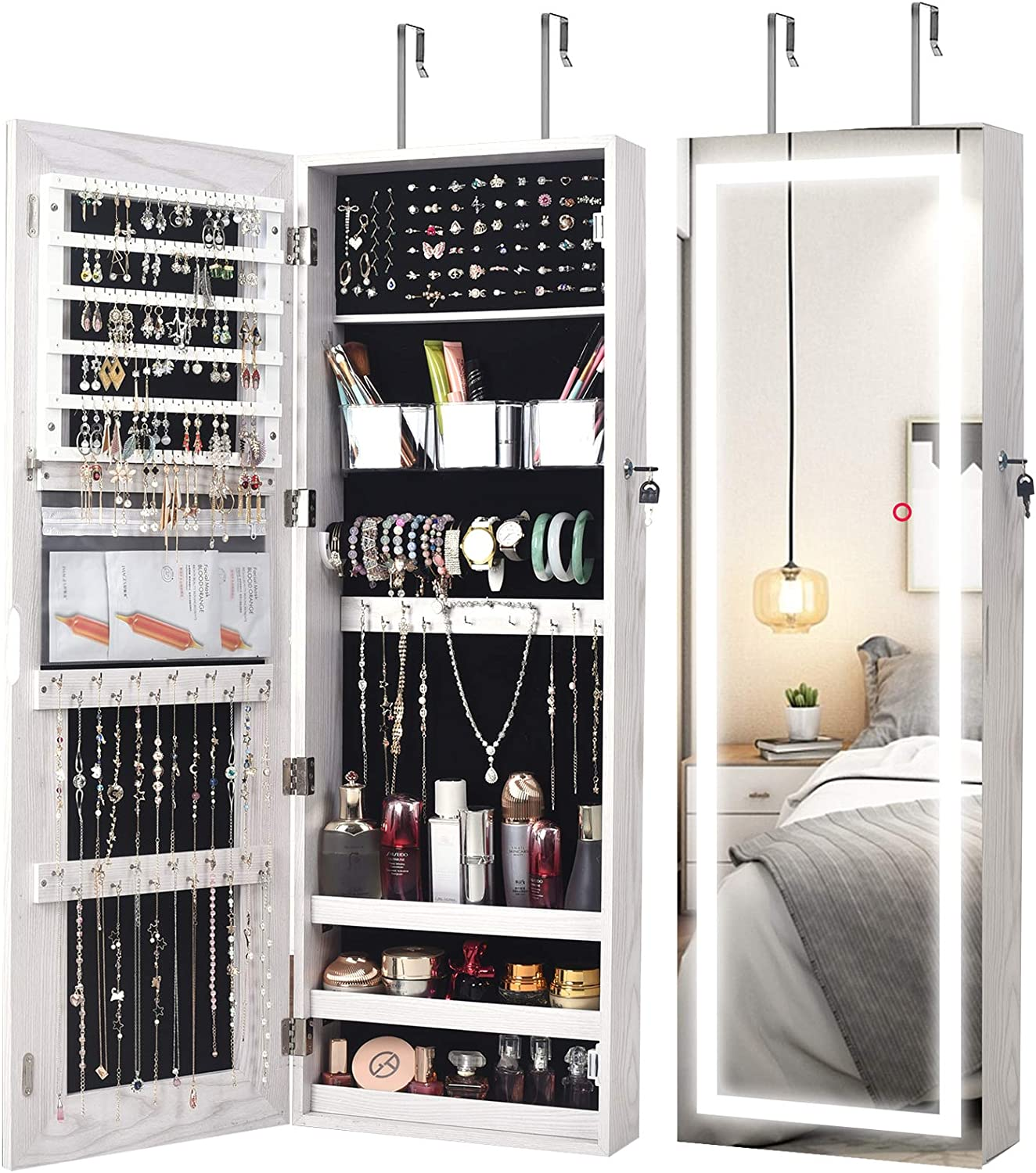 AOOU Jewelry Organizer Hanging Wall Mounted Jewelry Armoire,Full Length  Mirror LED Lock Door Jewelry Cabinet with Best Intelligent Switch & Large  ...