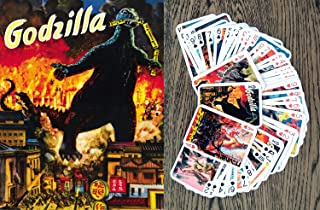 FlonzGift Godzilla Playing Cards (Poker Deck 54 Cards All Different) Godzilla Kaiju Vintage Movies Posters Japan Horror Action Monster