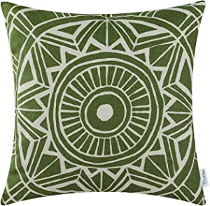 CaliTime Canvas Throw Pillow Cover Case for Couch Sofa Home Decoration Modern Compass Geometric 18 X 18 Inches Olive Green