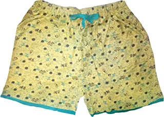 Krystle Women's Printed Cotton Shorts (Colour Yellow) SIZE-34