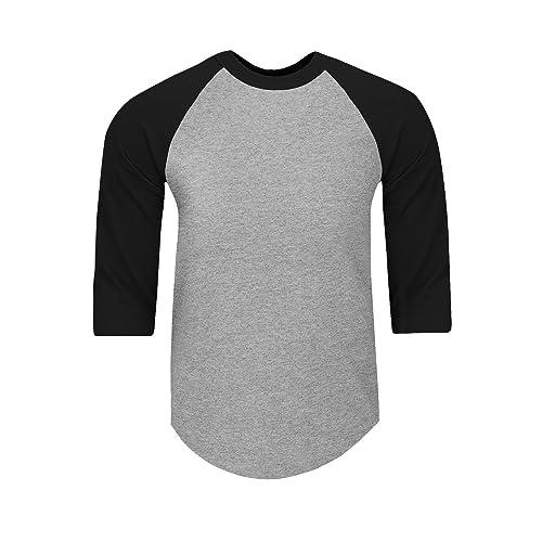 f12f0af7 Shaka Wear Mens Baseball T Shirts Raglan 3/4 Sleeves Tee Cotton Jersey S-