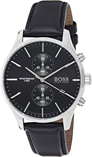 Hugo Boss Men's Black Dial Black Leather Watch - 1513803