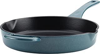 Ayesha Curry 46957 Enameled Cast Iron Skillet/Fry Pan with Pour Spouts, 10 Inch, Twilight Teal