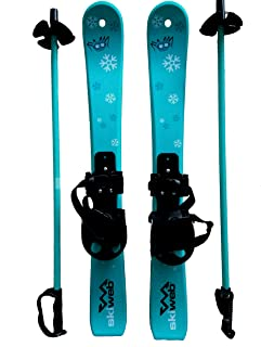 Kids First Plastic Snow Skis & Poles Age 2-4 with Bindings