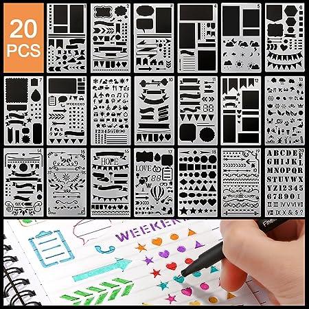 Pochoir Peinture Kits,20pcs Reutilisable Plastique Pochoirs Bullet Journal Contenir Lettre Alphabet Nombre Formes IcôNes,Postuler à Pour Portable Agenda Scrapbooking Art Projets Soft Pochoirs à Dessin