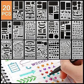 Pochoir Peinture Kits,20pcs Reutilisable Plastique Pochoirs Bullet Journal Contenir Lettre Alphabet Nombre Formes IcôNes,P...