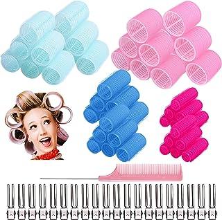 101PCS Self Grip Hair Rollers Set, 60pcs Hair Curler Salon Hair Roller Hair Dressing Tool 5 Size Large Medium Small Hair C...
