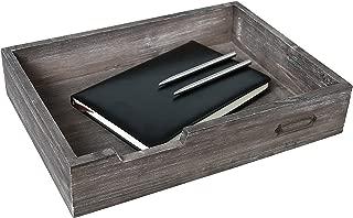 Rustic Brown Wood Stackable Office Document Tray, Desktop File & Paper Bin w/Metal Label Holder