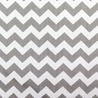 Small Chevron Poly Cotton Gray and White 60 Inch Fabric By the Yard (F.E.)