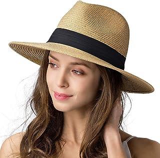 Womens Mens Wide Brim Straw Panama Hat Fedora Summer...