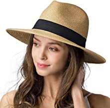 Womens Mens Wide Brim Straw Panama Hat Fedora Summer Beach Sun Hat UPF Straw Hat for Women