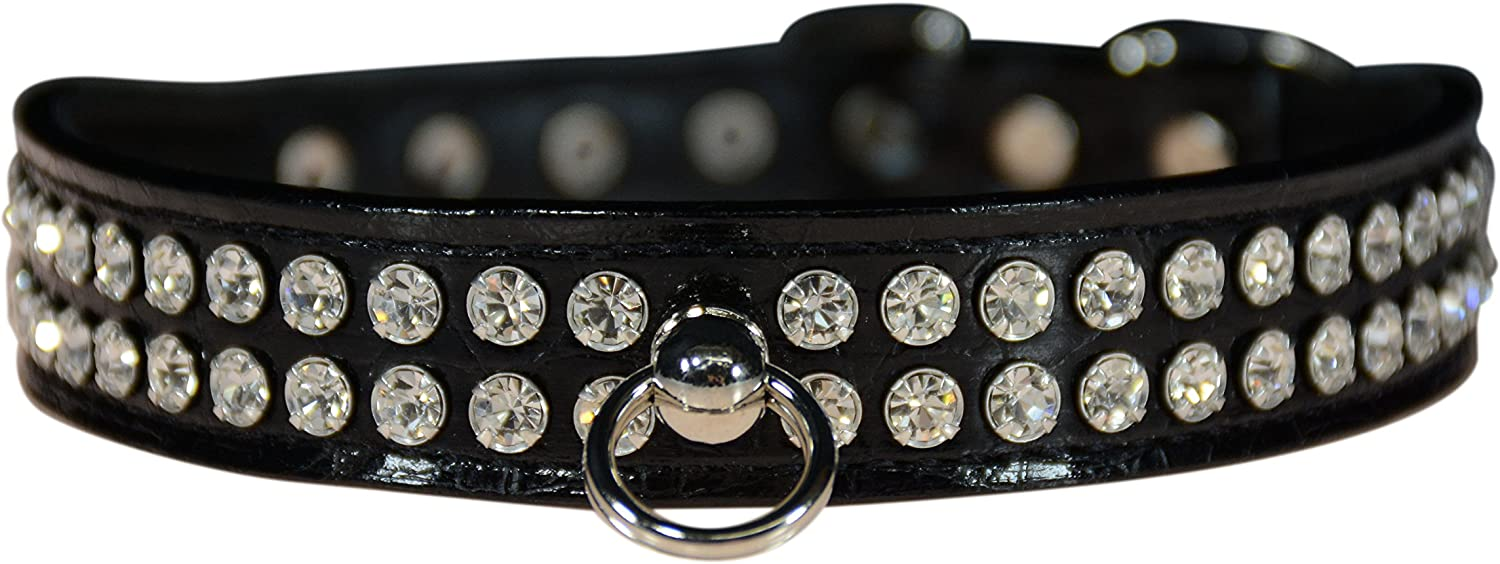 Evans Collars 3 4  Shaped Collar with Crystal Jewels, Size 14, Croc, Black