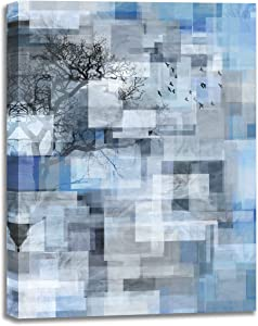 Abstract Wall Art,Gray Blue Canvas Wall Art for Bathroom Bedroom,Abstract Theme Framed Wall Art for Wall Decoration,Size 12x16 inches Art Work for Home Walls Abstract Picture Wall Decor