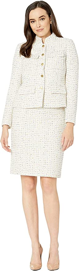 Boucle Skirt Suit with Chest Pockets