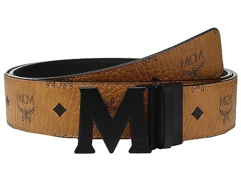 MCM Claus Reversible Matte Black Buckle Belt