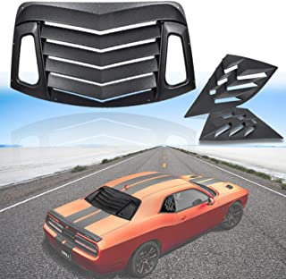 Opall for Dodge Challenger 2008-2019 ABS Rear Window Louvers & Quarter Side Window Scoop Louvers in Matte Black