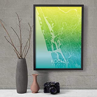 Recollection Kochi City Map Art Print Poster Wall Decor for Home Office Restaurant Hotel Interior Decoration- without Fram...