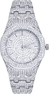 Bling Men's Fashion Silver Plated Iced CZ Metal Band Watches WM 8651 S