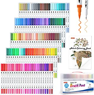 120 Colors Dual Tip Brush Art Marker Pens with 1 Coloring Book,Shuttle Art Fine and Brush Dual Tip Markers Set for Bullet ...